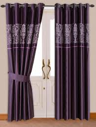 Thick Purple Curtains Stylish Damask Pattern Ringtop Eyelet Lined Curtains Faux Silk