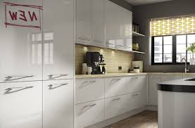 grey gloss kitchen doors red ceramic tile floor white yellow