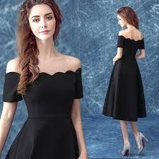 2016 fashion little black cocktail dresses boat neck off the