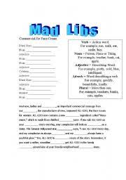 english teaching worksheets mad libs