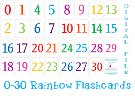 printable 0 30 number flashcards instant download