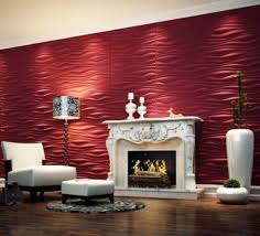interior red 3d wall panels decoration with white gas fireplace
