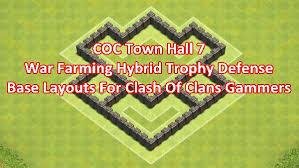 layout design th7 coc th7 war farming hybrid trophy defense base layouts