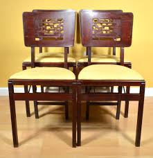 Wood Folding Chairs Four Vintage Wood Folding Chairs By Stakmore Ebth