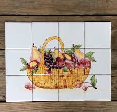 Kitchen Tile Murals Tile Art Backsplashes by Tile Mural Hand Painted Tile Mural May Sale Original