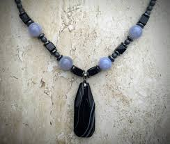 black light necklace images Black agate pendant hematite necklace light blue necklace ships JPG