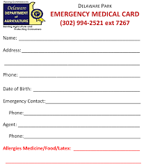 emergency contact card for wallet wallet design