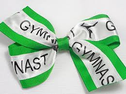 ribbon for hair that says gymnastics amazon com green gymnastics ribbon hair bow handmade