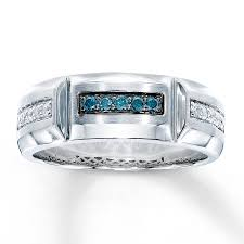 mens blue wedding bands men s wedding band 1 4 ct tw blue diamonds 10k white gold