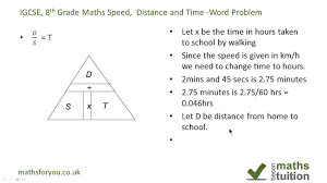 distance speed and time word problem igcse gcse 8th grade