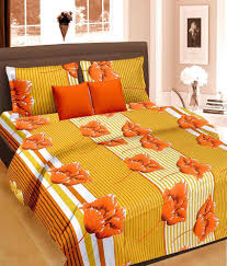 Buy Double Bed Sheets Online India Cortina Premium Double Bed Sheet With 2 Pillow Covers Yellow