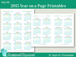 day 26 2015 year on a page printable calendars scattered squirrel