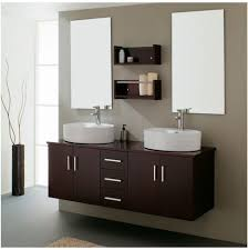 bathroom corner vanity cabinet sink stone chrome faucet red