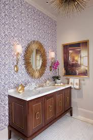 wallpaper designs for bathrooms 8 ideas to makeover your bathroom for fall gold sunburst mirror