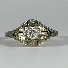 unique engagement ring settings vintage diamond engagement ring 18k white gold art deco setting