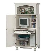 Computer Desk Armoires Antique White Shutter Door Computer Desk Armoire