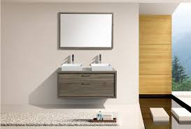 Havana Oak Double Sink Wall Mount Modern Bathroom Vanity W - Bathroom vanities double vessel sink