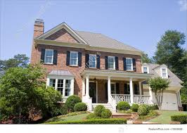 House With A Porch Residential Architecture Brick Two Story With Porch Stock