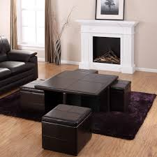 fine modern leather ottoman coffee table with shelves and wooden
