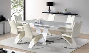 7pc dining set with butterfly leaf glossy finish in grey