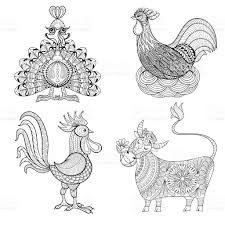 cow chicken in nest rooster turkey for coloring page stock