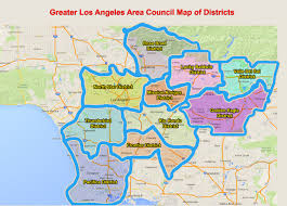 los angeles suburbs map boy scouts of america los angeles area council