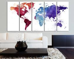extra large burgundy world map canvas wall art print watercolor extra large burgundy world map canvas wall art print watercolor world map 5 panel canvas