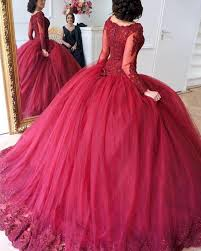 wedding dress maroon lace appliques sleeves tulle gowns maroon wedding