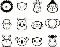 icon set cute zoo animals in black and white stock vector art