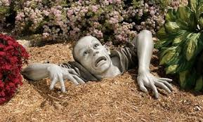 plowing through and wacky garden ornaments