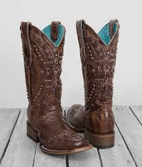 womens size 11 square toe cowboy boots corral s distressed brown whip stitched studded square toe