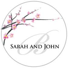 labels for wedding favors personalized cherry blossom stickers