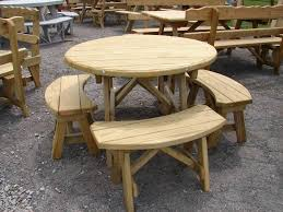 wonderful elegant round wood picnic table best tables wooden