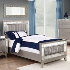 leighton bedroom set with wavy metallic leatherette upholstery