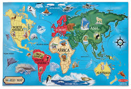 World Map Of Continents And Oceans To Label by Amazon Com Melissa U0026 Doug World Map Floor Puzzle 33 Pcs 2x3