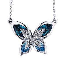 swarovski necklace blue stone images S sivery mothers day gifts 39 butterfly 39 women pendant jpg