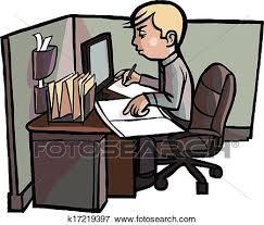 employé de bureau clipart dessin animé employé bureau examine livre k17219397