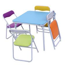 childrens folding table and chair set goplus kids 5 piece folding table chair set children multicolor play