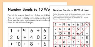 number bonds to 10 word search number bonds numeracy maths