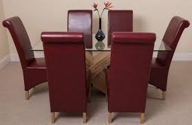 Burgundy Dining Room Valencia Dining Set With 6 Burgundy Chairs Modern Furniture Direct