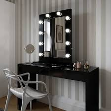 vanity dressing table with mirror angelina hollywood mirror in black gloss 80 x 60cm hollywood
