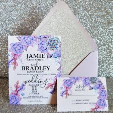 purple and silver wedding invitations succulent purple silver glitter wedding invitation suite