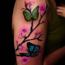 black painted ink butterfly sleeve tattoo on arm tattooimages biz