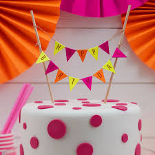 neon happy birthday cake bunting topper by ginger ray