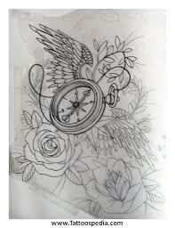 Feminine Clock - compass search tattoos compass