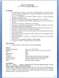 Ssis And Ssrs Resume Picturesque Sample Resume For Sql Developer Lovely Business