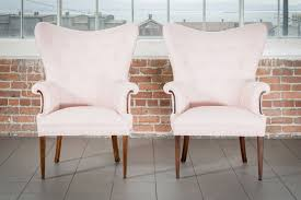 the ora blush pink wingback chairs pieces by violet vintage