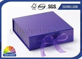 customized ribbon folding gift paper box customized luxury rigid gift packing folded