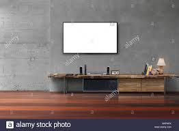 Livingroom Tv Living Room Led Blank Screen Tv On Concrete Wall With Wooden Table