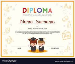 preschool diploma preschool kids diploma certificate template vector image